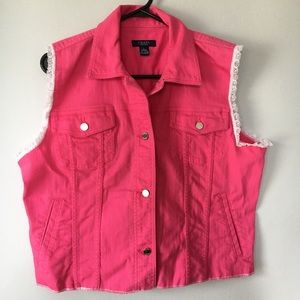 Chaps Pink Jean and Lace Vest Women's Size Large